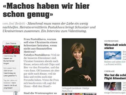"""Natalya Pastukhova im Interview mit der Schweizer Zeitung """"20 Minuten"""""""